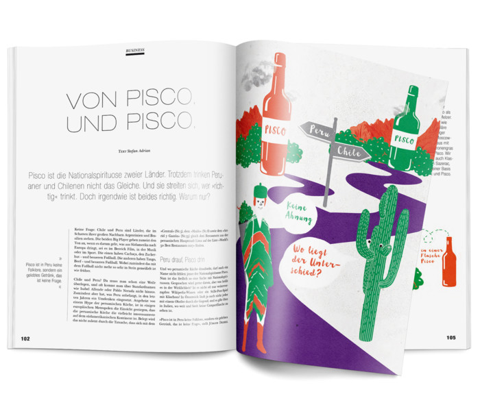 Inga Israel ingaisrael.de Illustration Mixology Magazin für Barkultur Rubrik Business Pisco mixology.eu