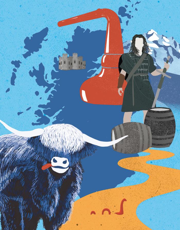 Inga Israel ingaisrael.de Illustration Mixology Magazin für Barkultur Rubrik Trinkwelt Highlands mixology.eu