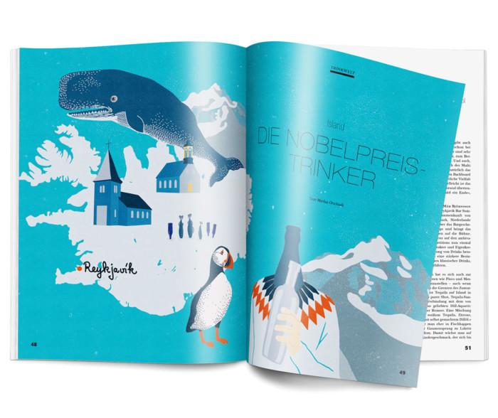 Inga Israel ingaisrael.de Illustration Mixology Magazin für Barkultur Rubrik Trinkwelt Island mixology.eu
