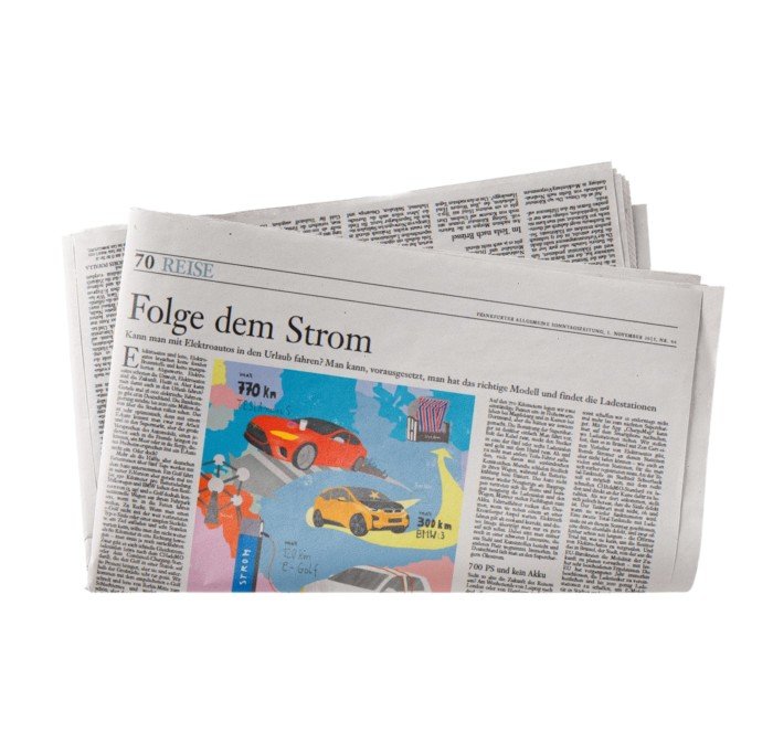 Frankfurter Allgemeine Sonntagszeitung Elektroautos Folge dem Strom Illustration Inga Israel ingaisrael.de