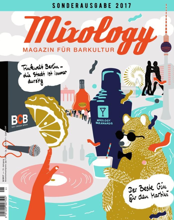 Mixology Sonderausgabe 2017 Coverillustration Inga Israel ingaisrael.de Gin Mixology Bar Awards Bar Convent Berlin Bergamotte Aquavit Trinwelt Berlin
