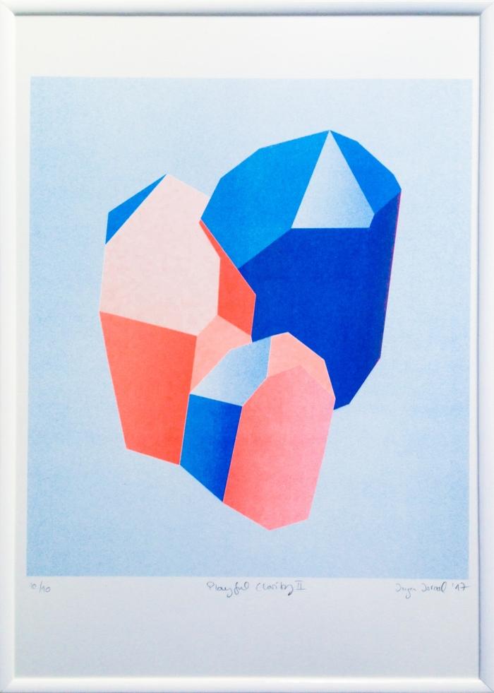 Risodruck Inga Israel ingaisrael.de playful clarity risograph 3-farbig würfel quader drucken3000 risoprint geometry playful clarity shapes