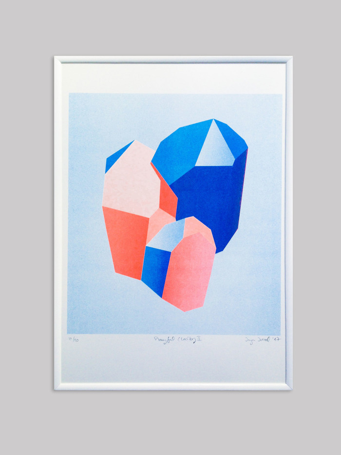 Risodruck Inga Israel ingaisrael.de playful clarity risograph 3-farbig würfel quader drucken3000 risoprint geometry playful clarity shapes
