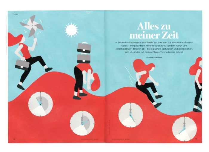PsychologieHeute 8/2018 Illustration Editorial Illustration Inga Israel ingaisrael.de Alles zu meiner Zeit Timing das richtige Timing Titelillustration