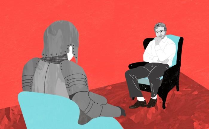 PsychologieHeute 1/2018 Illustration Editorial Illustration Inga Israel ingaisrael.de Männer in Therapie Männer brauchen keine Therapie
